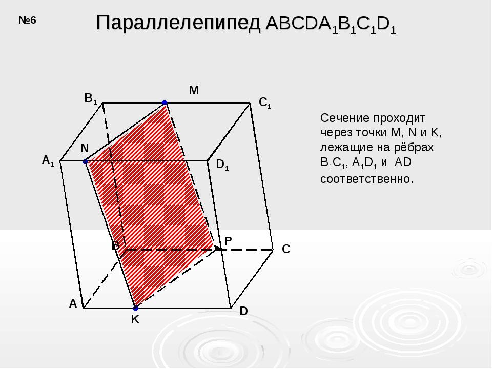 A B C D C1 D1 B1 A1 N M K P Параллелепипед ABCDA1B1C1D1 Сечение проходит чере...