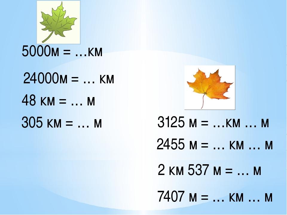 5000м = …км 24000м = … км 48 км = … м 305 км = … м 3125 м = …км … м 2455 м =...