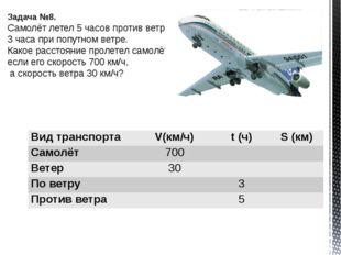 Задача №8. Самолёт летел 5 часов против ветра и 3 часа при попутном ветре. Ка