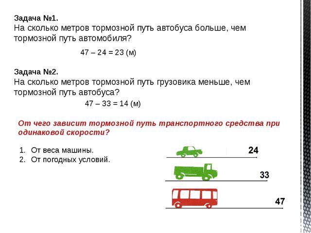 Задача №1. На сколько метров тормозной путь автобуса больше, чем тормозной пу...