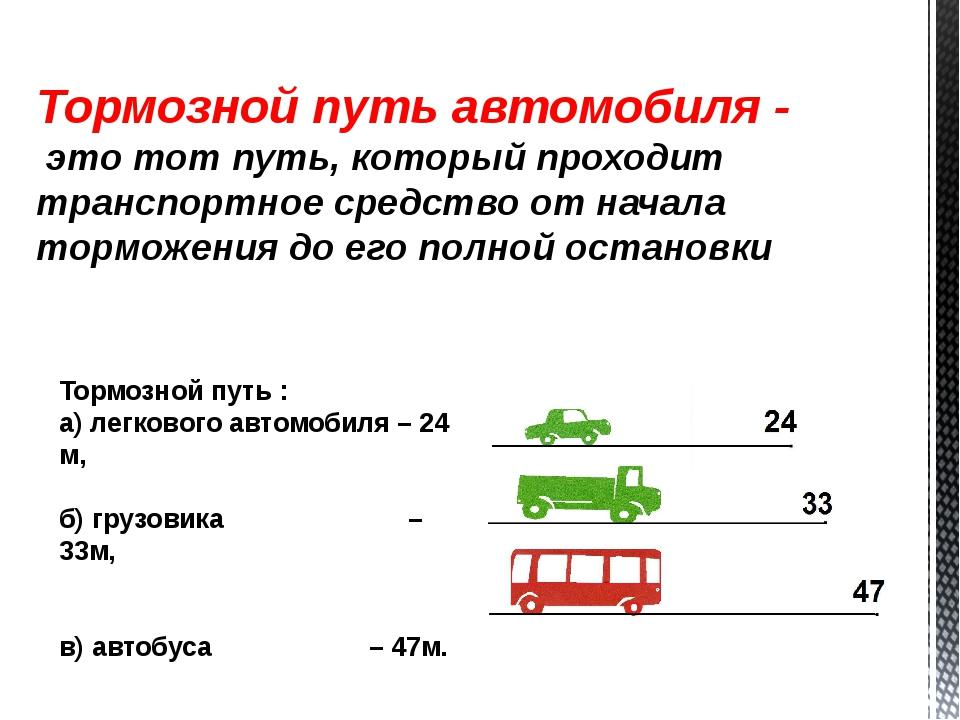 Тормозной путь автомобиля - это тот путь, который проходит транспортное средс...