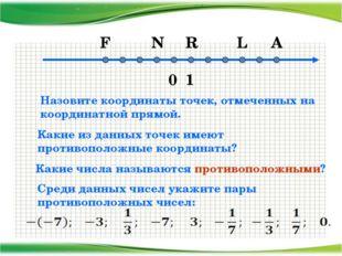 0 1 F N R L A Какие из данных точек имеют противоположные координаты? Назови