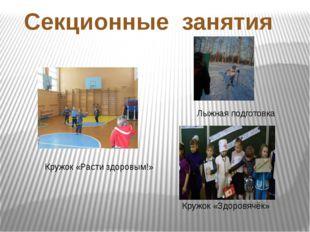 Секционные занятия Кружок «Расти здоровым!» Кружок «Здоровячёк» Лыжная подгот