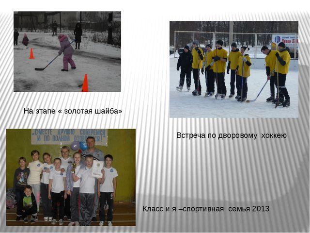 На этапе « золотая шайба» Класс и я –спортивная семья 2013 Встреча по дворово...