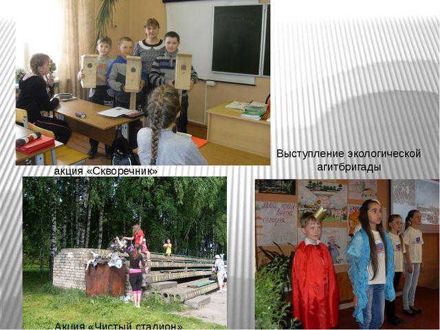 акция «Скворечник» Выступление экологической агитбригады Акция «Чистый стади...