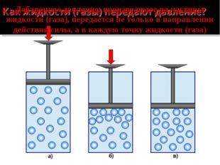 а) б) в) Добавочное давление, производимое на частицы жидкости (газа), переда