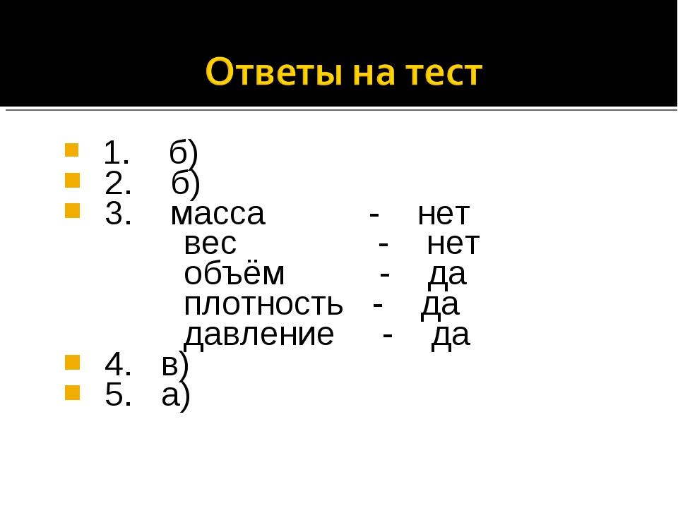 1. б) 2. б) 3. масса - нет вес - нет объём - да плотность - да давление - да...