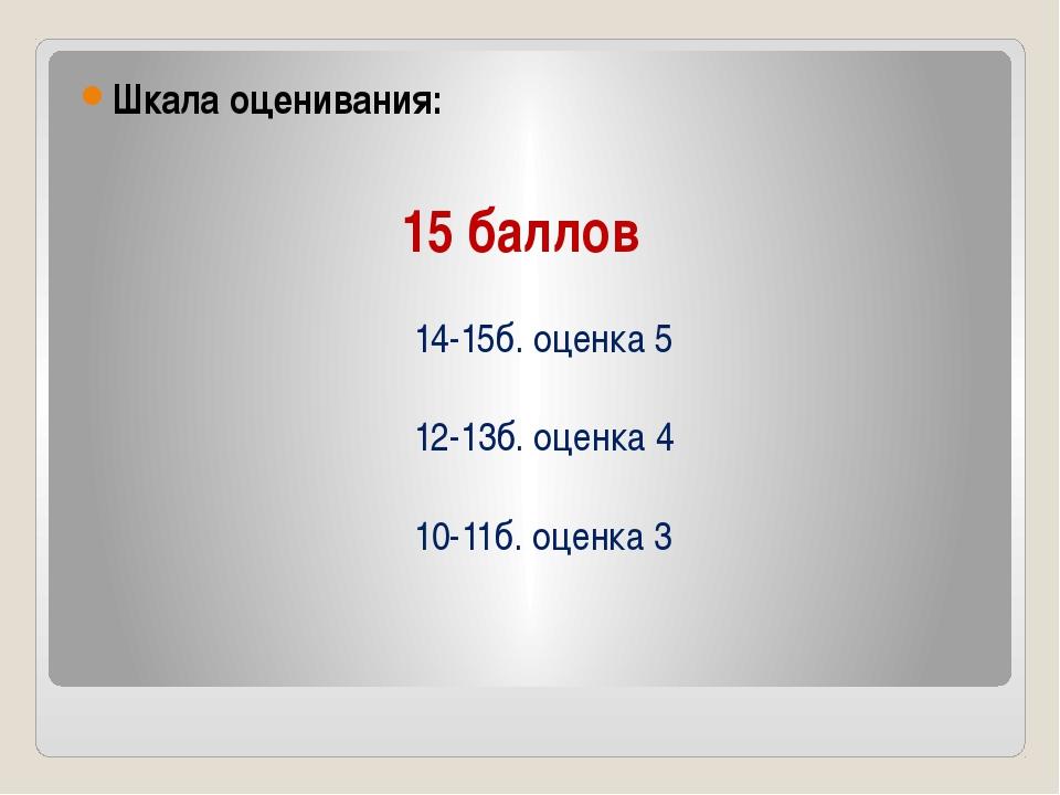 15 баллов Шкала оценивания: 14-15б. оценка 5 12-13б. оценка 4 10-11б. оценка 3