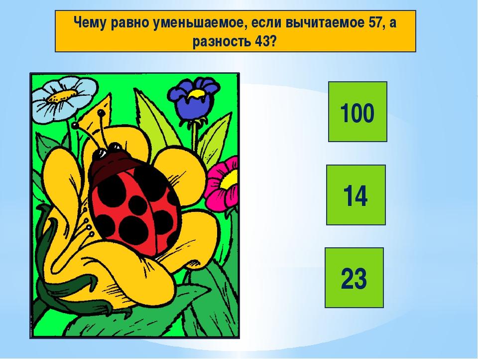 Чему равно уменьшаемое, если вычитаемое 57, а разность 43? 100 14 23