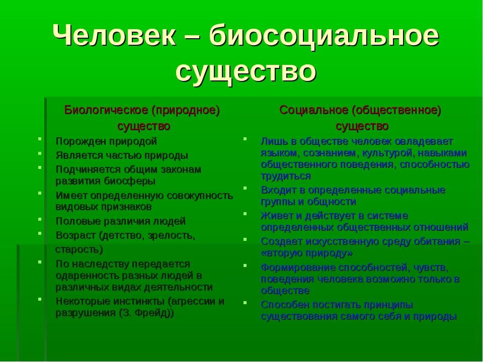 Человек – биосоциальное существо Биологическое (природное) существо Порожден...