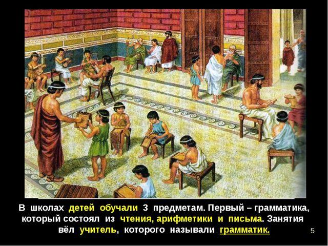 В школах детей обучали 3 предметам. Первый – грамматика, который состоял из ч...