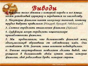 Выводы 1. Фамилии тесно связаны с историей народа и его языка, носят устойчив