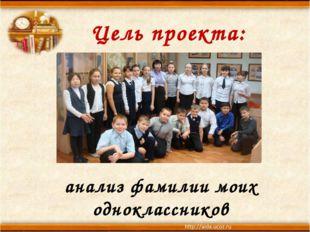 Цель проекта: анализ фамилии моих одноклассников
