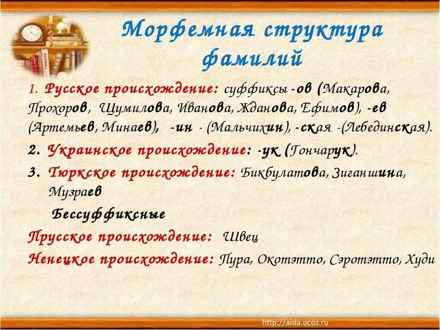 Морфемная структура фамилий 1. Русское происхождение: суффиксы -ов (Макарова,...