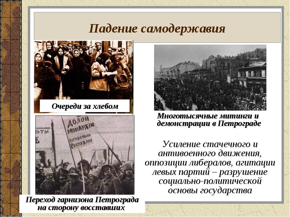 Падение самодержавия Усиление стачечного и антивоенного движения, оппозиции л...