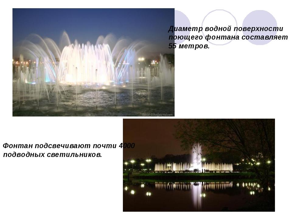 Диаметр водной поверхности поющего фонтана составляет 55 метров. Фонтан подсв...