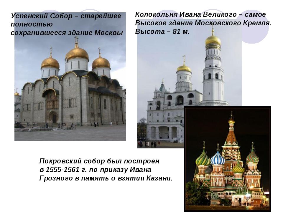 Успенский Собор – старейшее полностью сохранившееся здание Москвы Колокольня...