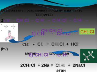 Осуществите превращения по схеме и назовите вещества: 1.CH₄→ CH₃Cl → C₂H₆ → C