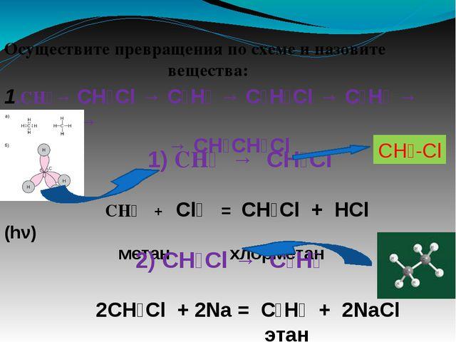 Осуществите превращения по схеме и назовите вещества: 1.CH₄→ CH₃Cl → C₂H₆ → C...