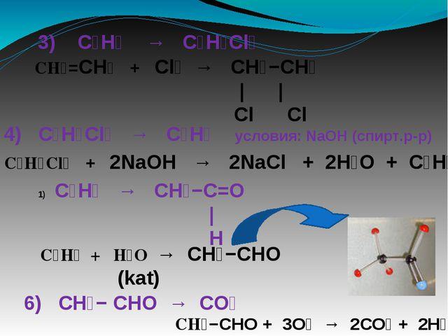 3) C₂H₄ → C₂H₄Cl₂ CH₂=CH₂ + Cl₂ → CH₂−CH₂ | | Cl Cl 4) C₂H₄Cl₂ → C₂H₂ условия...