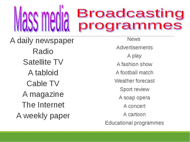A daily newspaper Radio Satellite TV A tabloid Cable TV A magazine The Intern...