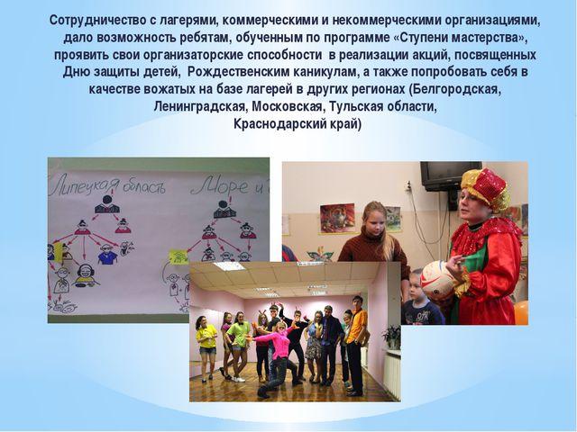 Сотрудничество с лагерями, коммерческими и некоммерческими организациями, дал...