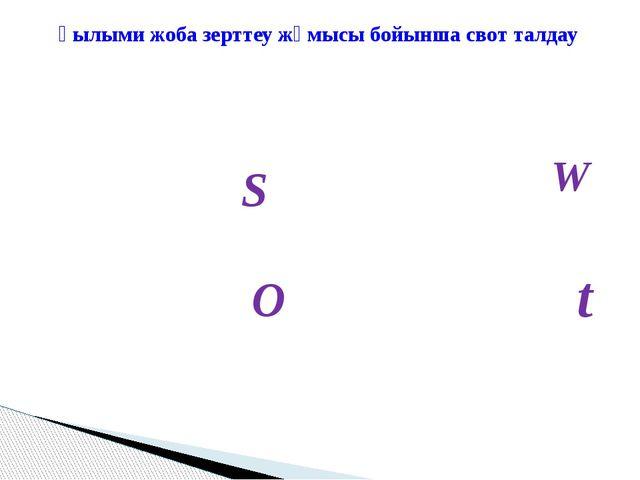 S W O t Ғылыми жоба зерттеу жұмысы бойынша свот талдау