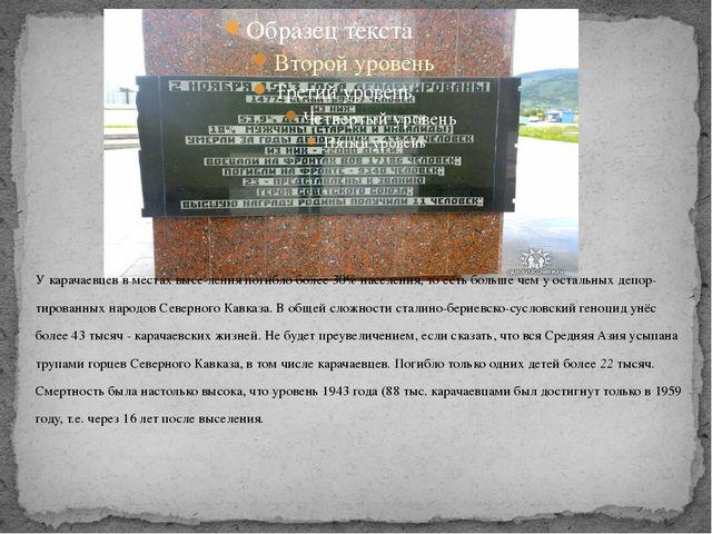 У карачаевцев в местах выселения погибло более 30% населения, то есть больше...