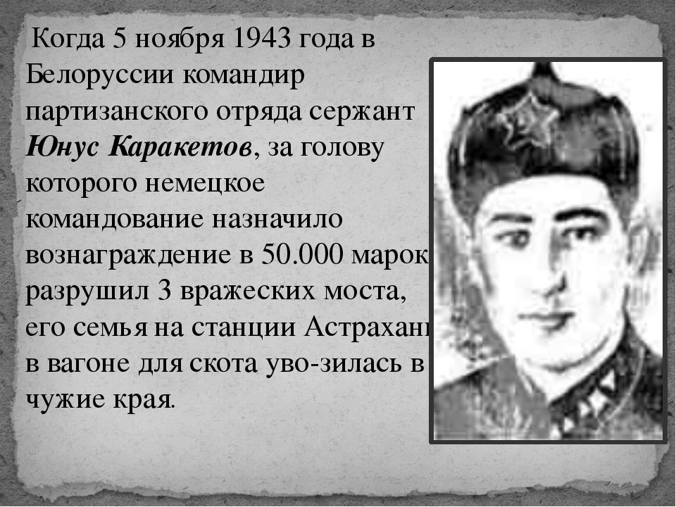 Когда 5 ноября 1943 года в Белоруссии командир партизанского отряда сержант...