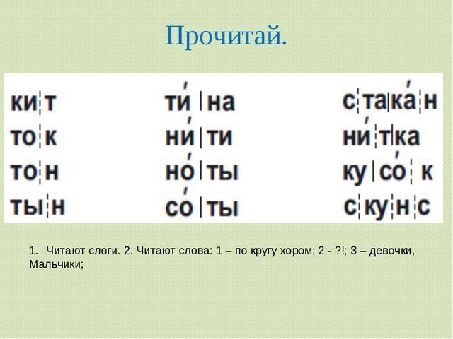 Прочитай. Читают слоги. 2. Читают слова: 1 – по кругу хором; 2 - ?!; 3 – дево...