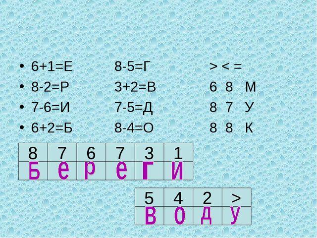 6+1=Е8-5=Г> < = 8-2=Р3+2=В6 8 М 7-6=И7-5=Д8 7 У 6+2=Б8-4=О8 8...