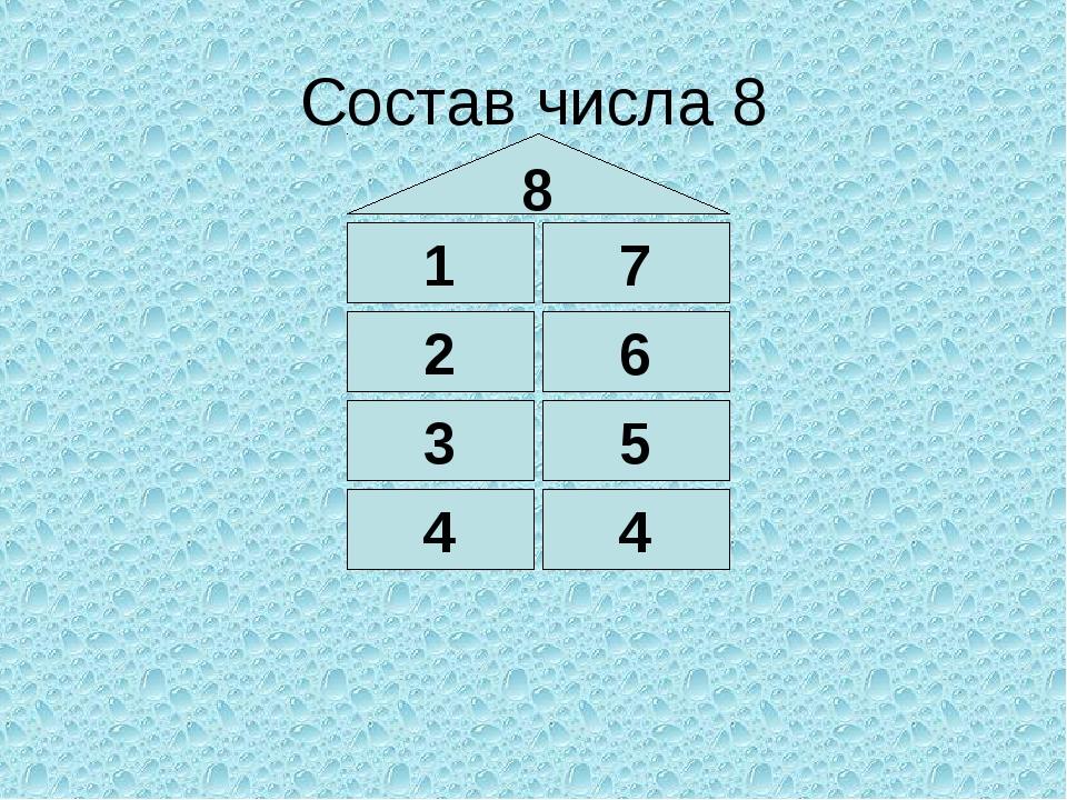 Состав числа 8 8 1 3 4 4 5 6 7 2