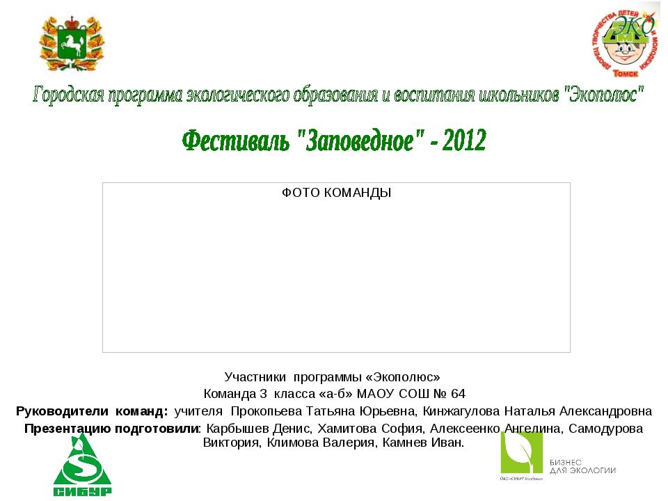 Участники программы «Экополюс» Команда 3 класса «а-б» МАОУ СОШ № 64 Руководит...