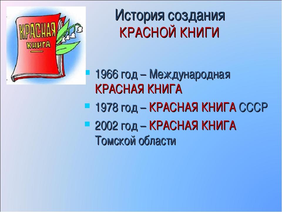 История создания КРАСНОЙ КНИГИ 1966 год – Международная КРАСНАЯ КНИГА 1978 го...