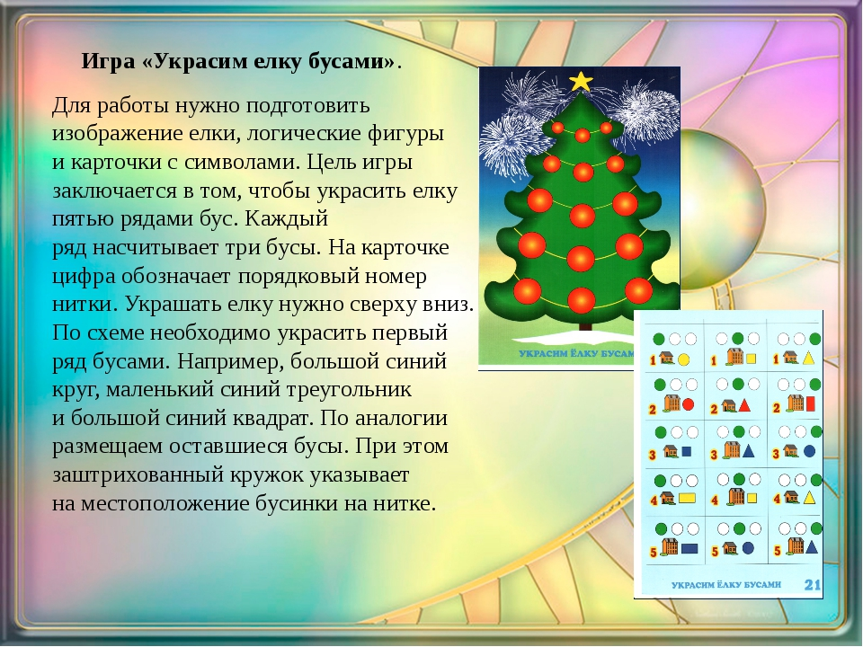 Игра «Украсим елку бусами». Для работы нужно подготовить изображение елки, л...