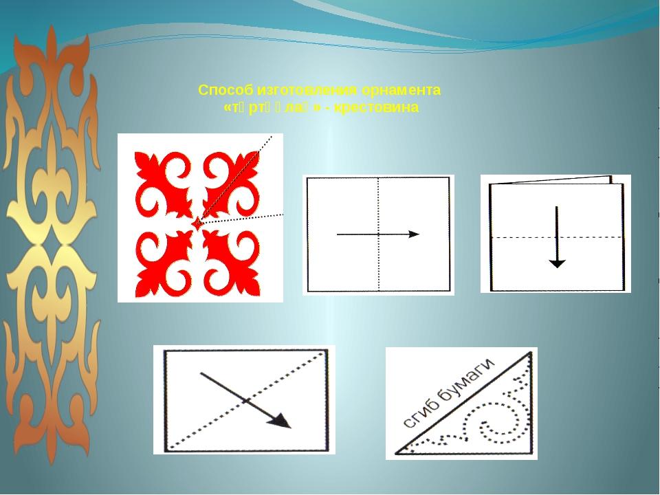 Способ изготовления орнамента «төртқұлақ» -крестовина