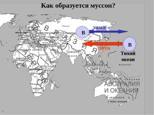 Тихий океан Как образуется муссон? В В лето зима