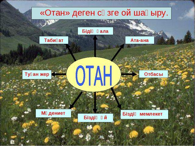 «Отан» деген сөзге ой шақыру.