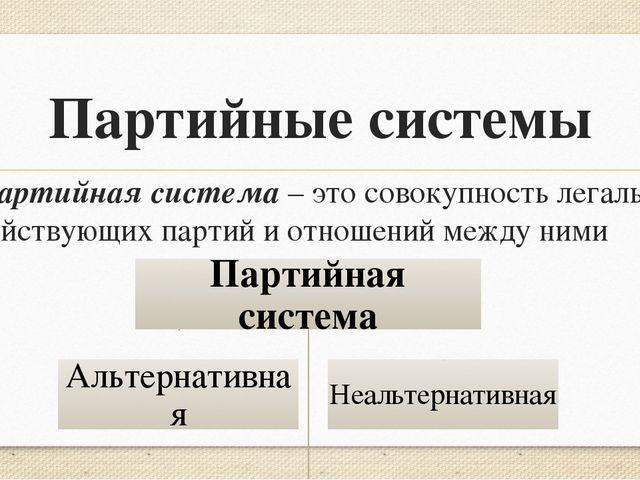 Партийные системы Партийная система – это совокупность легально действующих п...