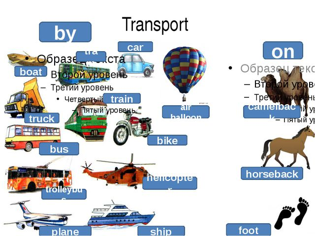 Transport by on boat truck bus trolleybus plane ship helicopter bike train ca...