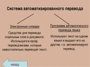 Система автоматизированного перевода Электронные словари Средства для перевод