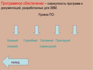Программное обеспечение – совокупность программ и документаций, разработанных