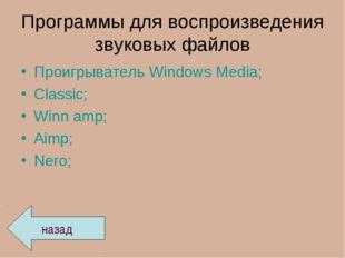 Программы для воспроизведения звуковых файлов Проигрыватель Windows Media; Cl