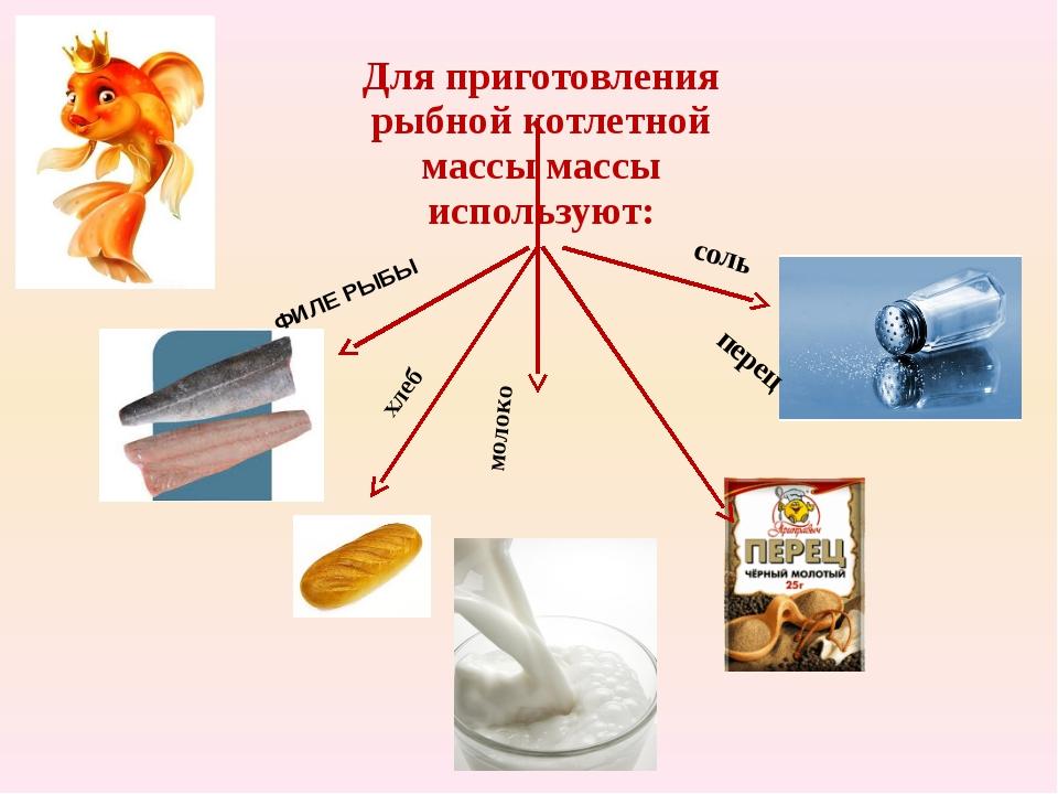Для приготовления рыбной котлетной массы массы используют: ФИЛЕ РЫБЫ хлеб мол...