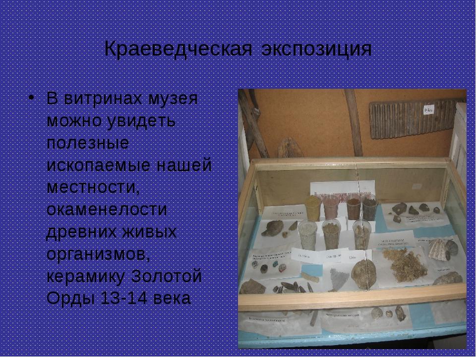 Краеведческая экспозиция В витринах музея можно увидеть полезные ископаемые н...