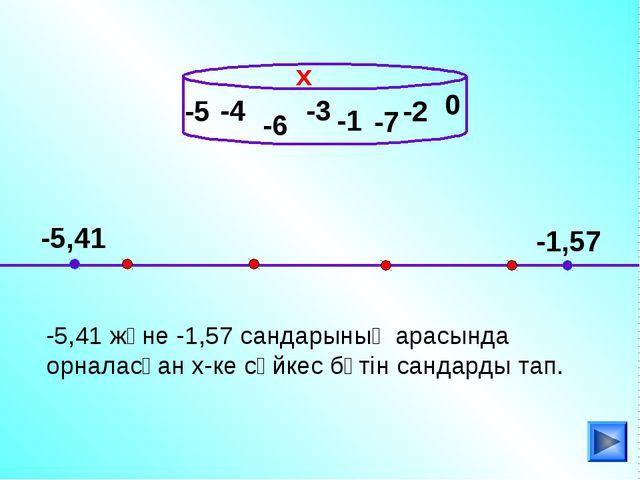 -4 -5,41 және -1,57 сандарының арасында орналасқан х-ке сәйкес бүтін сандарды...