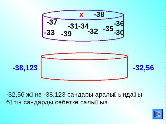 -33 -32,56 және -38,123 сандары аралығындағы бүтін сандарды себетке салыңыз....