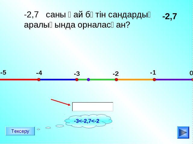 -2,7 саны қай бүтін сандардың аралығында орналасқан? -2,7 -5 -4 -3 -2 -1 0 Те...