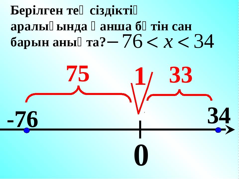 0 -76 34 Берілген теңсіздіктің аралығында қанша бүтін сан барын анықта? 1 75 33