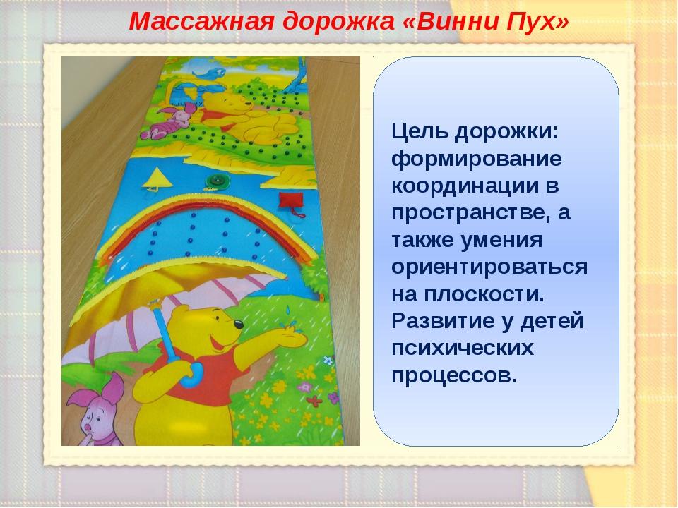 Массажная дорожка «Винни Пух» Цель дорожки: формирование координации в простр...
